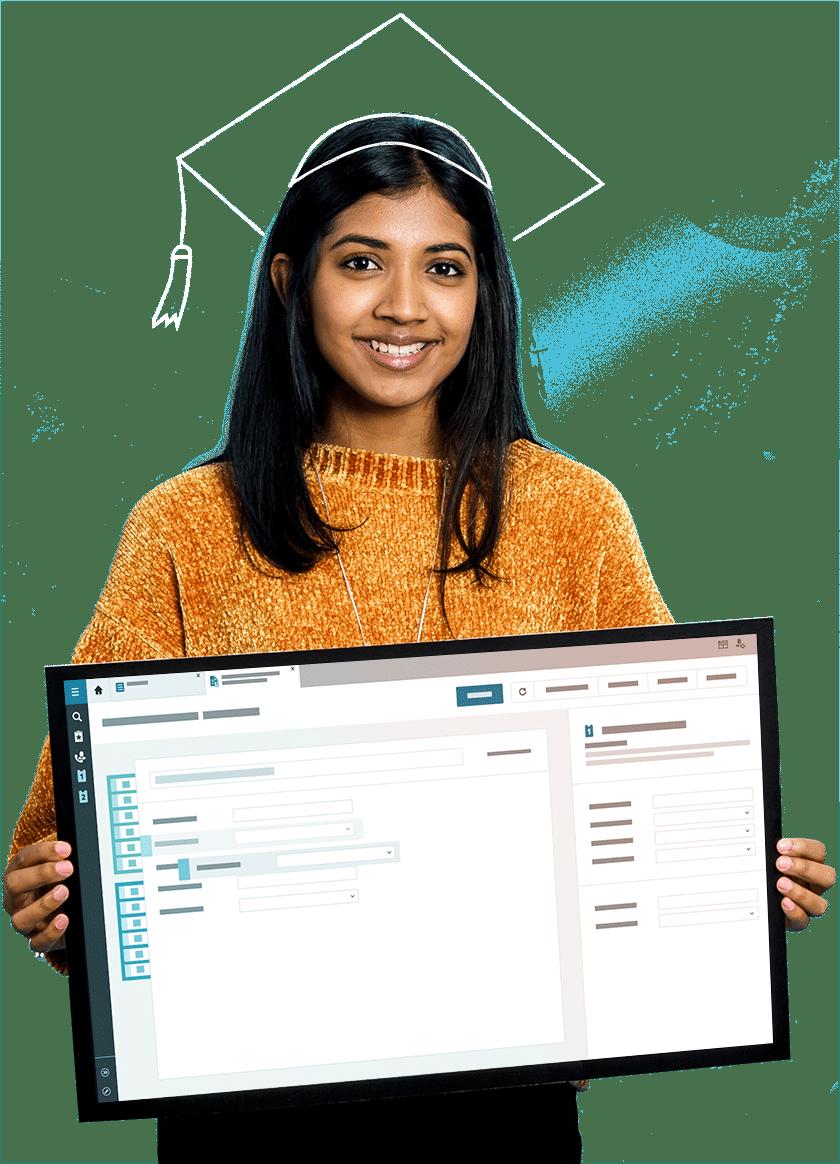 Employée montrant le logiciel d'assistance TOPdesk pour l'enseignement